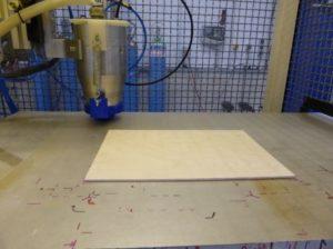 Plasma coating on a plywood sample